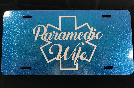 Paramedic Wife  License plate -Blue Glitter