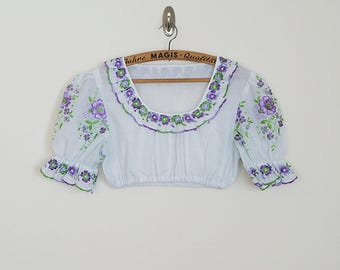 VINTAGE Rare 70's Hungarian vovelty handmade floral embroidered top  // Size XS