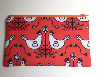 Pencil Case Zip Pouch - Hens
