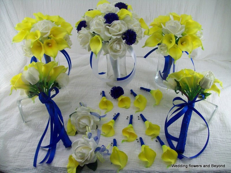 Yellow and blue wedding flowers real touch roses and calla zoom mightylinksfo