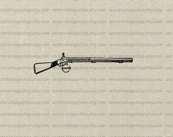 Gun Vector Graphic Instant Download, Commercial Use Clipart Rifle Firearms Shotgun Antique Weapon Clip Art Victorian Illustration WEB1724AK