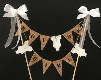 Baby shower cake topper, gender reveal cake bunting, 'Boy or Girl' cake banner with black letters on hessian flags.