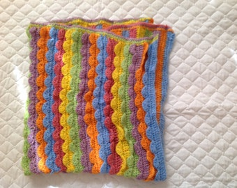 "Multi-colored Baby Blanket. 31""x36"""