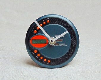 Wall or table, desk clock from recycled faulty retro portable Watson walkman MP3 CD audio player for men, DJ, musician, music teacher - 3