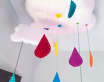 Handmade Felt Rainbow Raindrops Mobile