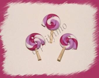 """Lollipop blackcurrant"" charm in polymer clay"