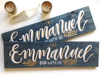 """Emmanuel God With Us Hand Painted Wood Sign 20""""x5.5"""" / christmas sign / christian art / bible verse"""