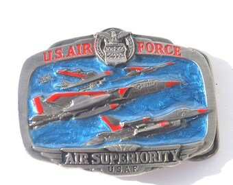 US Air Force Air Superiority USAF Belt Buckle Military Fighter Jets, Airplanes Great American Buckle Co. 1983