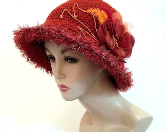 Burnt orange cloche hat bucket hat for women hand made hat brim hat unusual hat womens fedora dressy crochet hat hand knit