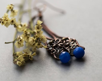 Blue Agate Earring, Long Elvish Copper Jewelry, Wire Wrapping Earrings, Woodland Boho Agate Earrings