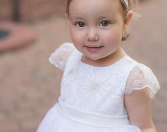 Tulle christening gown with gold lace with headband, off white or ivory