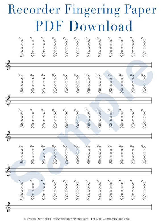 printable recorder fingering chart Recorder Tablature / Fingering Paper: Download and Printable