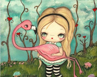 Alice In Wonderland Print Cute Alice and Flamingo Fairy Tale Wall Art--- Croquet Rescue LARGE PRINT 11 x 14
