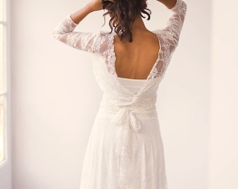 Backless wedding dress with sleeves, Long sleeve wedding dress backless, Backless lace wedding dress, Lace wedding dress low cut back