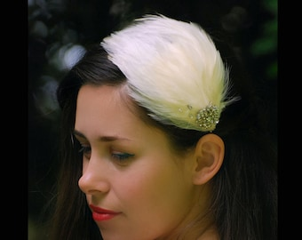 Ivory flapper feather headband,  birdcage veil Great Gatsby,bridal headpiece feathers, ballerina crystals hairpiece, vintage inspired