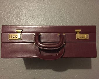 Rare Briefcase double Cartier Burgundy leather suitcase