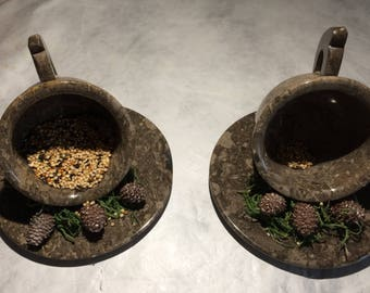 Cup and Saucer Bird Feeder