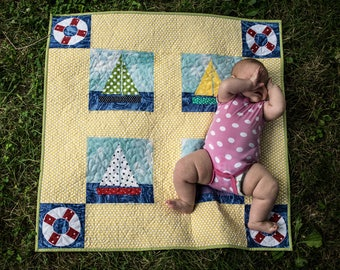 Baby quilt nautical travel boats