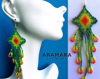 Boho earrings, Huichol Earrings, Mexican folk art, Mexican earrings, Native american earrings, Mexican Jewelry, Native Jewelry, AO-0106