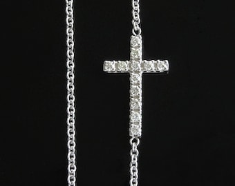 Tiny Sideways Cross Necklace in 14kt White Gold and Diamonds