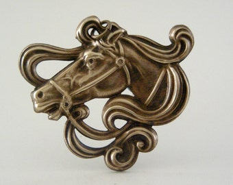 Art Nouveau Pendant -  Horse Pendant - DIY Necklace  - Finding Vintage Brass Jewelry - DIY Jewelry