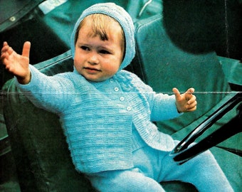 HAYFIELD 552 Vintage Baby Pram Set Knitting Pattern Instant Download