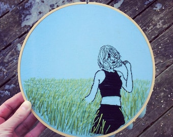 Girl in a field - embroidered portrait wall hanging