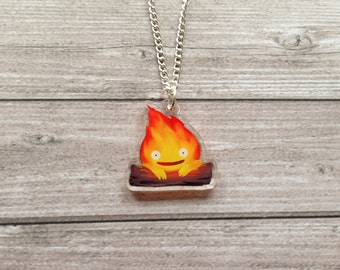 Calcifer necklace - Howl's moving castle, Miyazaki, studio Ghibli, kawaii, geek, cute, japanese, Japan, lasercut, acrylic