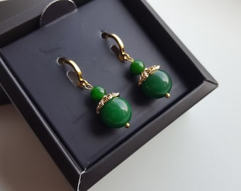 Earrings, Gold, Green, agate,  Handmade Jewelry, Small dangle earrings, Drop earrings, Inspirational, Wife gift for mom