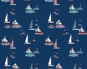 PREORDER Seaside by Tasha Noel for Riley Blake, C7231-NAVY, Seaside Boats Navy, Nautical Fabric, Beach Fabric, Boating, Coming in June