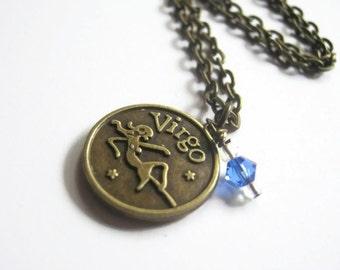Zodiac Virgo Charm Necklace, August September Birthstone, Peridot or Sapphire Swarovski, Astrology Jewelry, Choose Your Length, Bronze