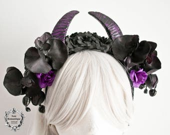 Black and purple horn headpiece-gothic flowers and horns headpiece-gothic headband-flower headband-horn headpiece