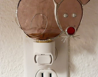 Stained Glass Night Light, Purple Mouse Animal, Wall Plug In, Bathroom Bedroom Kitchen Office Decor, Gift For Him Her Friend Teens