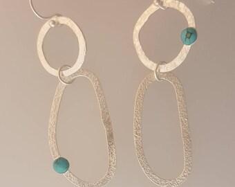 Asymmetrical Turquoise Hoop Earrings