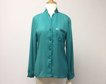 NWT Vintage Ladies Sheer Bright Green Secretary Top Blouse Size Medium Large Retro Vintage 1980s Suit Style Long Sleeve Emerald Jewel Tone