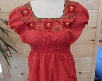 Red Cap Sleeve Blouse/Top Embroidered with Flowers w/ Elastic Waist