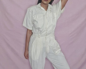 Vintage 1980s 1990s Cream Short Sleeved Jumpsuit