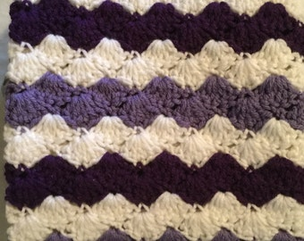 Crochet Baby Blanket-Travel/Stroller/Crib/Car Seat/ Dark Purple-Light Purple-White/ Gray Ruffle Border