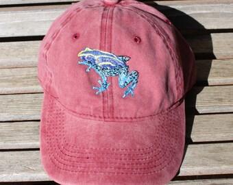 Blue Frog Embroidered on a Denim Baseball Hat Cap, Adjustable hat, adult
