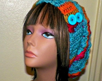Blue Red Slouchy Hat  Crochet Womens Tam Beret Boho Chunky Beanie Rasta With Hippie Rainbow Colors Stripes