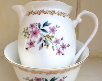 SALE - Royal Grafton milk jug/creamer and  sugar bowl. Vintage bone china - English bone china set