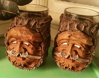 Hand carved Wood Drinking Glasses