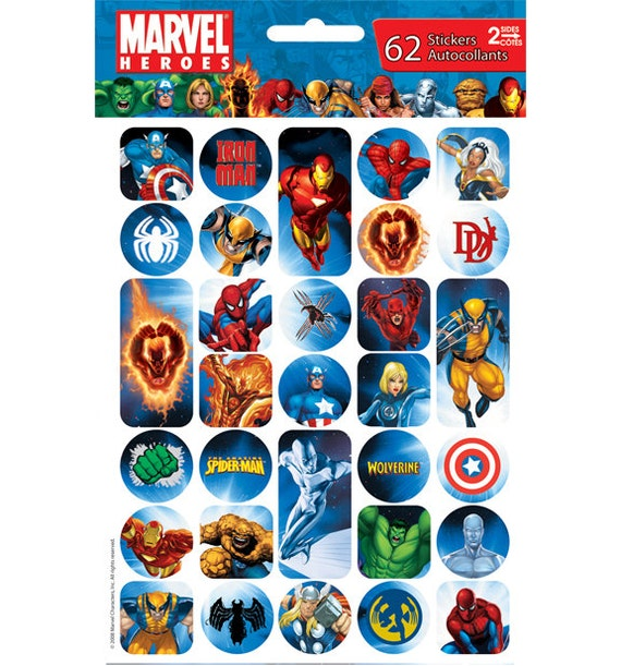 Marvel superheroes sticker 62 stickers marvel heroes birthday party • marvel heroes favor • super hero party • superhero sticker msh15