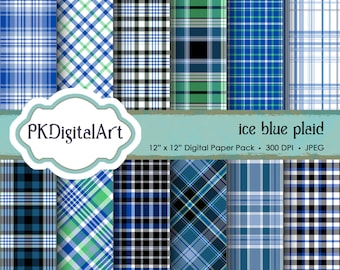 "Ice Blue Plaid Digital Paper - ""Ice Blue Plaid""  Scrapbook Paper Background Crafting Supplies"