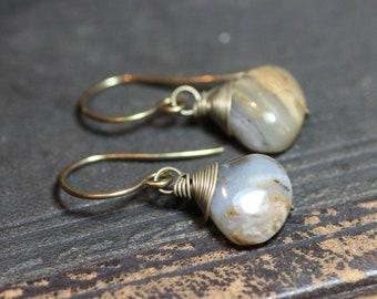 Opal Earrings Smoke Gray Sand Beige Gemstone Earrings Peruvian Opal Wire Wrapped Teardrop Rustic Jewelry
