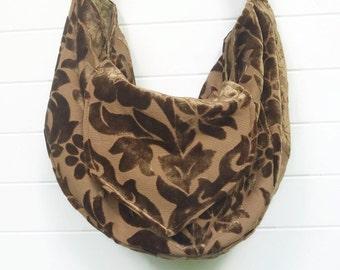 Boho Hippie Bag Purse Brown Cut Velvet Floral