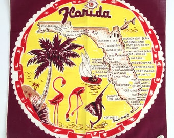 Vintage Florida handkerchief mid century 1950s souvenir MWT flamingos and palm trees sailfish sailboat kitsch