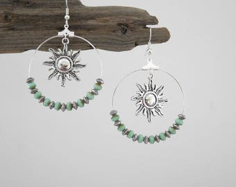 Hoop earrings green turquoise silver and clear