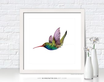 HUMMINGBIRD Painting, Hummingbird Print, Bird Greeting Cards, Original Watercolor Painting, Wall Decor, Bird Wall Art, Swooping Broad Bill