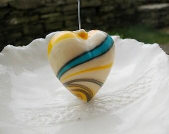 Murano Blown Glass Heart Bead - 35mm x 38mm